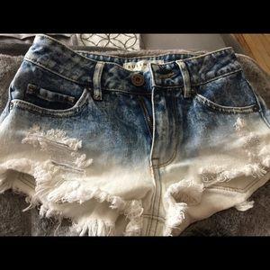 00 High Rise denim ombré shorts